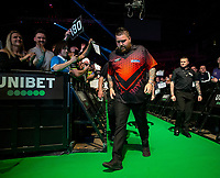 12th March 2020; M and S Bank Arena, Liverpool, Merseyside, England; Professional Darts Corporation, Unibet Premier League Liverpool; No shaking hands for the players as Michael Smith during his walk on for night six