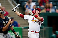 Zack Cox (7) of the Springfield Cardinals watches a pop-fly during a game against the Northwest Arkansas Naturals at Hammons Field on July 31, 2011 in Springfield, Missouri. Northwest Arkansas defeated Springfield 9-1. (David Welker / Four Seam Images)