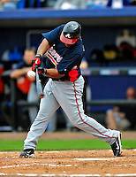 2 March 2010: Atlanta Braves second baseman Joe Thurston in action against the New York Mets during the Opening Day of Grapefruit League play at Tradition Field in Port St. Lucie, Florida. The Mets defeated the Braves 4-2 in Spring Training action. Mandatory Credit: Ed Wolfstein Photo