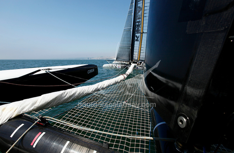 America's Cup, onboard the AC 45 Energy Team in preparation the start of the America's Cup World Series in Cascais P ortugal.