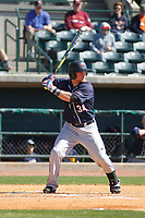 Liberty University Flames outfielder Will Shepherd (34) at bat during a game against the University of Virginia Cavaliers  at Joseph P. Riley Ballpark on February 17, 2017 in Charleston, South Carolina. Virginia defeated Liberty 10-2. (Robert Gurganus/Four Seam Images)