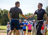 Josh Geary (right) congratulates Kerry Mountcastle for winning the final. Day four of the Brian Green Property Group NZ Super 6s Manawatu at Manawatu Golf Club in Palmerston North, New Zealand on Sunday, 28 February 2021. Photo: Dave Lintott / lintottphoto.co.nz