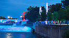 Aug. 17, 2015; The 2015 Graduate School orientation ended with a visit to the South Bend River Lights at the Century Center in downtown South Bend. (Photo by Matt Cashore/University of Notre Dame)