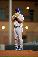 St. Lucie Mets relief pitcher Matt Pobereyko (38) gets ready to deliver a pitch during a game against the Florida Fire Frogs on April 19, 2018 at Osceola County Stadium in Kissimmee, Florida.  St. Lucie defeated Florida 3-2.  (Mike Janes/Four Seam Images)