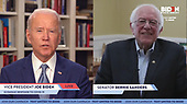 Pictured in this screen capture: Vice President Joe Biden and Senator Bernie Sanders address the urgent need for a full COVID-19 economic response during a live stream on April 13, 2020. (Photo by: JoeBiden.com via ON-SITEFOTOS)