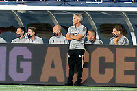 FOXBOROUGH, MA - AUGUST 29: New England Revolution assistant coach Richie Williams surveys the situation during a game between New York Red Bulls and New England Revolution at Gillette Stadium on August 29, 2020 in Foxborough, Massachusetts.