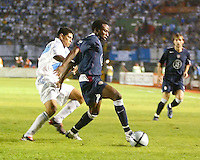 Jeff Cunningham fights off a Guatemalan defender to control the ball. The US Men's National Team tied Guatemala, 0-0, in World Cup Qualifying at Estadio Mateo Flores in Guatemala City, Guatemala on September 7, 2005.