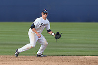 Matt Chapman #6 of the Cal State Fullerton Titans plays shortstop during a game against the Washington State Cougars at Goodwin Field on  February 15, 2014 in Fullerton, California. Washington State defeated Fullerton, 9-7. (Larry Goren/Four Seam Images)