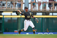 Pittsburgh Pirates second baseman Chris Bostick (63) throws to first base during a Grapefruit League Spring Training game against the New York Yankees on March 6, 2017 at LECOM Park in Bradenton, Florida.  Pittsburgh defeated New York 13-1.  (Mike Janes/Four Seam Images)