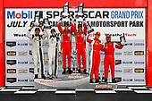 IMSA WeatherTech SportsCar Championship<br /> Mobil 1 SportsCar Grand Prix<br /> Canadian Tire Motorsport Park<br /> Bowmanville, ON CAN<br /> Sunday 9 July 2017<br /> 57, Audi, Audi R8 LMS GT3, GTD, Lawson Aschenbach, Andrew Davis, 93, Acura, Acura NSX, Andy Lally, Katherine Legge, 63, Ferrari, Ferrari 488 GT3, Alessandro Balzan, Christina Nielsen, celebrates, win, winners, victory lane, podium<br /> World Copyright: Scott R LePage/LAT Images