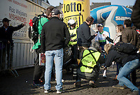 Simon Gerrans (AUS/Orica-GreenEDGE) interviewed at the start<br /> <br /> 50th Amstel Gold Race 2015