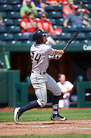 Northwest Arkansas Naturals designated hitter Hunter Dozier (24) at bat during a game against the Springfield Cardinals on April 27, 2016 at Hammons Field in Springfield, Missouri.  Springfield defeated Northwest Arkansas 8-1.  (Mike Janes/Four Seam Images)
