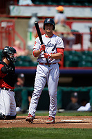 Reading Fightin Phils third baseman Mitch Walding (10) at bat during a game against the Erie SeaWolves on May 18, 2017 at UPMC Park in Erie, Pennsylvania.  Reading defeated Erie 8-3.  (Mike Janes/Four Seam Images)