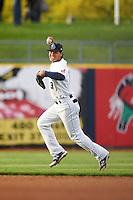 Lake County Captains shortstop Yu-Cheng Chang (13) makes a play during a game against the Fort Wayne TinCaps on May 20, 2015 at Classic Park in Eastlake, Ohio.  Lake County defeated Fort Wayne 4-3.  (Mike Janes/Four Seam Images)