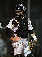 Sarasota Sailors catcher Caden Marsters (5) during warmups before a game against the Riverview Rams on February 19, 2021 at Rams Baseball Complex in Sarasota, Florida. (Mike Janes/Four Seam Images)
