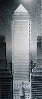 London: Canary Wharf Tower--Cesar Pelli. West Elevation. Planned to be 800 M., tallest in Europe.  Reference only.