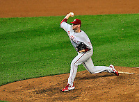 27 September 2010: Philadelphia Phillies' pitcher Roy Halladay on the mound pitching a complete game shutout against the Washington Nationals at Nationals Park in Washington, DC. With an 8-0 win tonight, the Philles clinched the National League Eastern Division Title. Mandatory Credit: Ed Wolfstein Photo