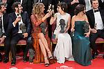Emma Suarez and Anna Castillo talking before the photo family for the media at Madrid Marriott Auditorium Hotel in Madrid, Spain. February 04, 2017. (ALTERPHOTOS/BorjaB.Hojas)
