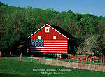 A United State flag painted on a red barn in Adams County, Pennsylvania