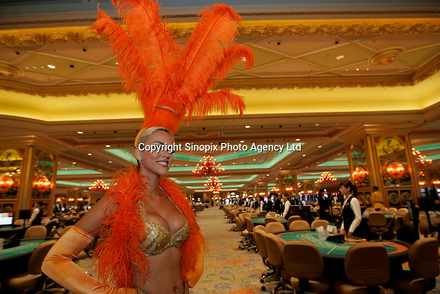 A dancer at the Venetian hotel in Macau. The ex-Portuguese colony of Macau in South China is a mecca for gamblers in Asia and especially China and makes more money that Las Vegas.