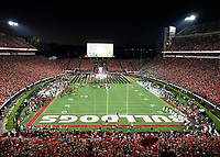 ATHENS, GA - SEPTEMBER 21: The Georgia Bulldogs take the field against the Notre Dame Fighting Irish during a game between Notre Dame Fighting Irish and University of Georgia Bulldogs at Sanford Stadium on September 21, 2019 in Athens, Georgia.