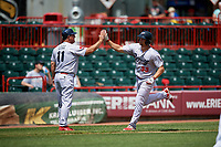 Reading Fightin Phils pinch hitter Kyle Martin (33) is congratulated as he rounds third base after hitting a home run in the top of the third inning during a game against the Erie SeaWolves on May 18, 2017 at UPMC Park in Erie, Pennsylvania.  Reading defeated Erie 8-3.  (Mike Janes/Four Seam Images)