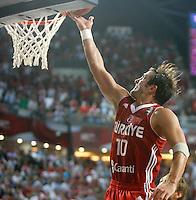 Kerem TUNCERI (Turkey) scores the winning point during the semi-final World championship basketball match against Serbia in Istanbul, Serbia-Turkey, Turkey on Saturday, Sep. 11, 2010. (Novak Djurovic/Starsportphoto.com) .