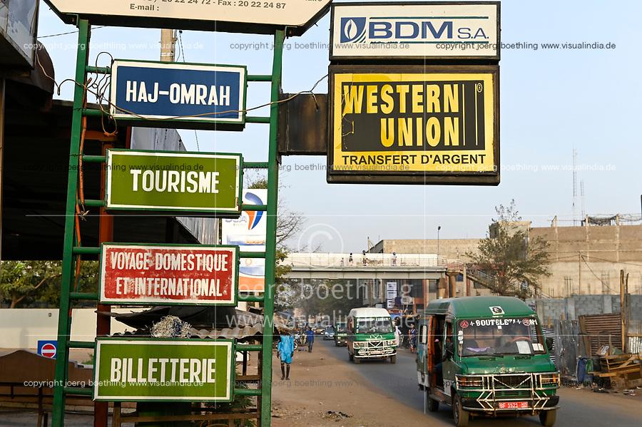 MALI, Bamako, Western Union money Transfer service, old Mercedes Benz Bus