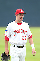 Sean Hurley #23 of the Vancouver Canadians during a game against the Hillsboro Hops at Nat Bailey Stadium on July 24, 2014 in Vancouver, British Columbia. Hillsboro defeated Vancouver, 7-3. (Larry Goren/Four Seam Images)