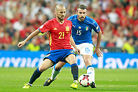 Spain's David Jimenez Silva (l) and Italy's Andrea Barzagli during FIFA World Cup 2018 Qualifying Round match. September 2,2017.(ALTERPHOTOS/Acero)