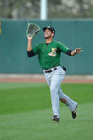 Clinton LumberKings right fielder Luis Liberato (2) looks to catch fly ball during the game against the Cedar Rapids Kernels at Veterans Memorial Stadium on April 16, 2016 in Cedar Rapids, Iowa.  Cedar Rapids won 7-0.  (Dennis Hubbard/Four Seam Images)