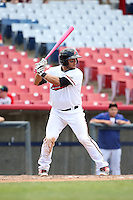 Jose Trevino (5) of the High Desert Mavericks bats against the Rancho Cucamonga Quakes at Heritage Field on May 8, 2016 in Adelanto, California. Rancho Cucamonga defeated High Desert, 11-5. (Larry Goren/Four Seam Images)