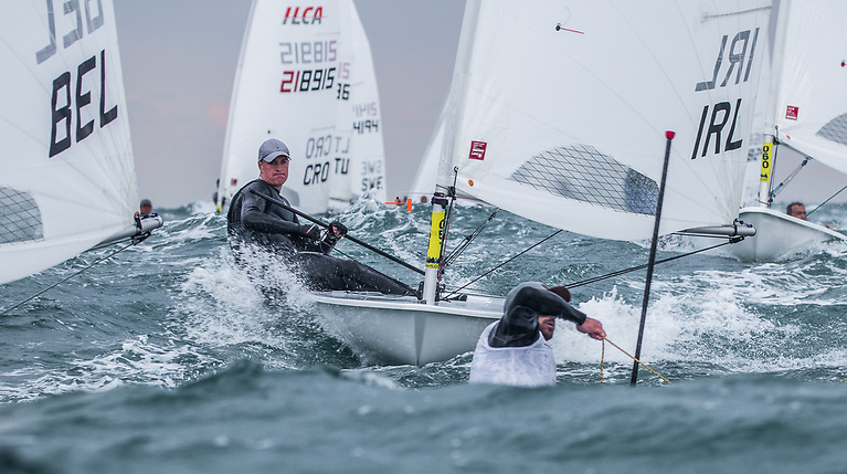Jamie McMahon competing in his first senior event in the Standard rig raced in the Silver fleet in Varna