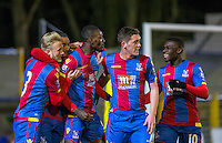 Christian Scales (left) of Crystal Palace, Connor Dymond (7) of Crystal Palace & Jacob Berkeley-Agyepong (10) of Crystal Palace celebrate with goal scorer Fred Ladapo of Crystal Palace during the U21 Professional Development League match between Watford U21 and Crystal Palace U21 at Clarence Park, St Albans, England on 14 March 2016. (Watford 0 Crystal Palace 5). Photo by Andy Rowland.
