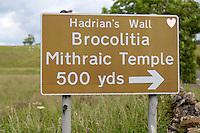 Northumberland, England, UK.  Sign to Brocolitia Mithraic Temple (Carrawburgh Temple of Mithras).