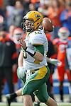 North Dakota State Bison quarterback Brock Jensen (16) in action during the FCS Championship game between the North Dakota State Bison and the Sam Houston State Bearkats at the FC Dallas Stadium in Frisco, Texas. North Dakota defeats Sam Houston 39 to 13..