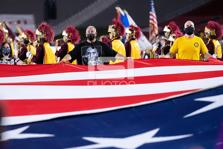 LOS ANGELES, CA - SEPTEMBER 11: National Anthem before a game between University of Southern California and Stanford Football at Los Angeles Memorial Coliseum on September 11, 2021 in Los Angeles, California.