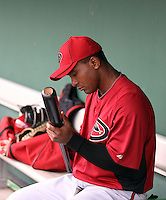 Melvin Mora #4 of the Arizona Diamondbacks prepares his bats before the game against the San Francisco Giants in the first spring training game of the season at Scottsdale Stadium on February 25, 2011  in Scottsdale, Arizona. .Photo by:  Bill Mitchell/Four Seam Images.