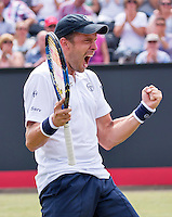 Den Bosch, Netherlands, 10 June, 2016, Tennis, Ricoh Open, Gilles Muller (LUX) celebrates match point during his match against David Ferrer (ESP)<br /> Photo: Henk Koster/tennisimages.com