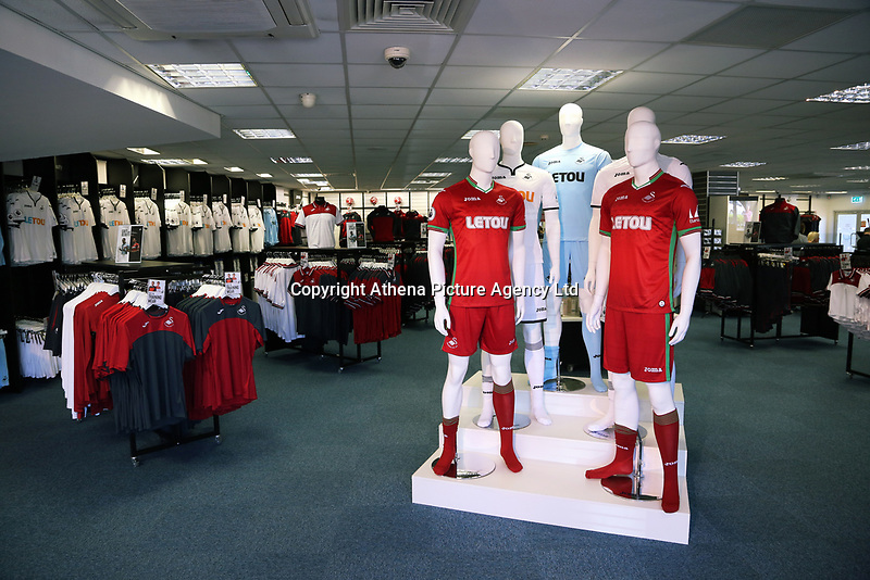 Pictured: Mannequins and interior view of the shop. Saturday 01 July 2017<br /> Re: The new 2017-2018 season, Swansea City FC kit has officially gone on sale at the club's Liberty Stadium shop, Wales, UK