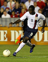 Eddie Johnson dribbles the ball into space. The USA tied Jamaica 1-1 at SAS Soccer Park in Cary, N.C. on April 11, 2006.