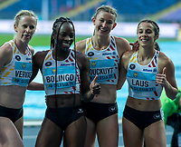 1st May 2021; Silesian Stadium, Chorzow, Poland; World Athletics Relays 2021. Day 1; Belgium women celebrate reaching the final in the 4 x 400 heats as Bolingo, Vervaet, Laus and Couckuyt pose