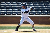 Julius Saporito (1) of the Quinnipiac Bobcats at bat against the Radford Highlanders at David F. Couch Ballpark on March 4, 2017 in Winston-Salem, North Carolina. The Highlanders defeated the Bobcats 4-0. (Brian Westerholt/Four Seam Images)