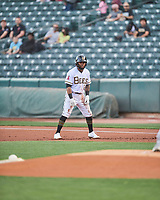 Luis Rengifo (2) of the Salt Lake Bees takes a lead off first base against the Reno Aces at Smith's Ballpark on May 6, 2021 in Salt Lake City, Utah. The Aces defeated the Bees 5-4. (Stephen Smith/Four Seam Images)