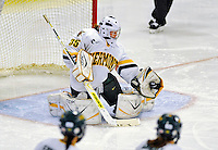 8 November 2008: University of Vermont Catamount goaltender Kristen Olychuck, a Junior from Kelowna, British Columbia, makes a save against the Wayne State Warriors at Gutterson Fieldhouse, in Burlington, Vermont. The Catamounts were shut out by the Warriors 7-0...Mandatory Photo Credit: Ed Wolfstein Photo