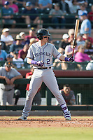Salt River Rafters first baseman Tyler Nevin (2), of the Colorado Rockies organization, at bat during the Arizona Fall League Championship Game against the Peoria Javelinas at Scottsdale Stadium on November 17, 2018 in Scottsdale, Arizona. Peoria defeated Salt River 3-2 in 10 innings. (Zachary Lucy/Four Seam Images)