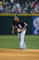 Chicago White Sox second baseman Cleuluis Rondon (89) on defense against the Charlotte Knights at BB&T Ballpark on April 3, 2015 in Charlotte, North Carolina.  The Knights defeated the White Sox 10-2.  (Brian Westerholt/Four Seam Images)
