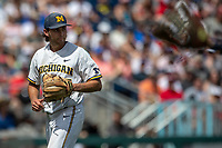 Michigan Wolverines pitcher Karl Kauffmann (37) during Game 1 of the NCAA College World Series against the Texas Tech Red Raiders on June 15, 2019 at TD Ameritrade Park in Omaha, Nebraska. Michigan defeated Texas Tech 5-3. (Andrew Woolley/Four Seam Images)