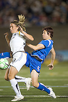 Boston Breakers defender Amy LePeilbet (6) challenges Los Angeles Sol midfielder Camille Abily (20). The Boston Breakers defeated Los Angeles Sol, 2-1, at Harvard Stadium on May 2, 2009.