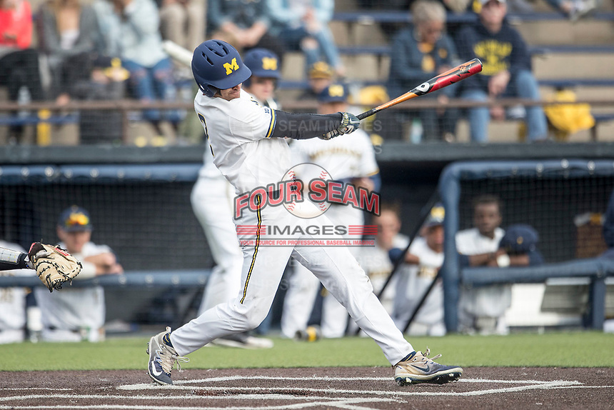 Michigan Wolverines outfielder Jonathan Engelmann (2) swings the bat against the Maryland Terrapins on April 13, 2018 in a Big Ten NCAA baseball game at Ray Fisher Stadium in Ann Arbor, Michigan. Michigan defeated Maryland 10-4. (Andrew Woolley/Four Seam Images)